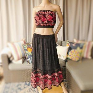 Free People 2 pcs.Embroidered Tube Top + Skirt NEW